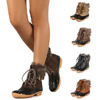 Women's Buckled Lace Up Side Zip Ankle Rain Boot Waterproof Insulated Duck Boots
