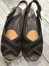 Cordani Calzature Brown Cork Sandal Womens Suede  Wedge Size 39/ 8.5