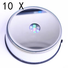 10X Rotating 7 LED Color Light Stand Base - Display Crystal 3D Glass AC power