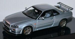Nissan Skyline R34 GTR Coupe 1998-2003 Silver Metallic 1:43 Autoart