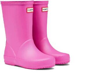 Hunter Kids First Classic Wellington Boots Lipstick Pink Girls Wellies UK 12