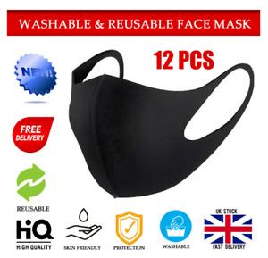 12PCS Reusable Face Mask Public Transports Sports Washable UK Stock