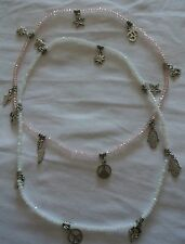 n° 2 collanine in opale rosa e bianco con pendagli