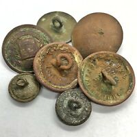 7 Post Medieval Authentic Bronze Buttons - Cyrillic Russian Artifacts - Old