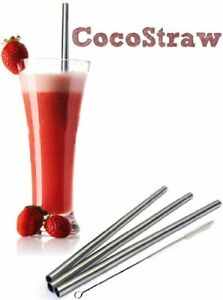4 Stainless Steel Wide Smoothie Straws - CocoStraw Large Straight Frozen Drink
