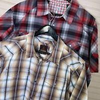 Mountain Hardwear/Prana S/S Snap Button Shirt Lot of 2 Poly/Cotton Men's Size L