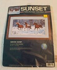 Sunset No Count Cross Stitch #13944 WINTRY ROMP  WINTER HORSES  #8