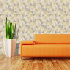 3D Style Géométrique Papier Peint une rue empreintes triangle carré luxe jaune gris