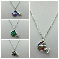 1PC Women Girl Fish Scale Rainbow Mermaid Pendant Necklace Chain Choker Gift