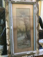 Antique Original 1800's Pastel Signed B. FRENCH Hunting winter Original Frame