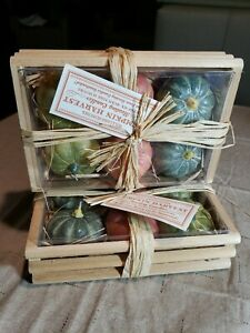 Two sets William Sonoma Pumpkin Harvest Set of 6 Floating Candles Wooden Crates