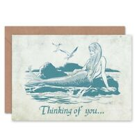 Friendship Love Thinking Of You Mermaid Blank Greeting Card With Envelope