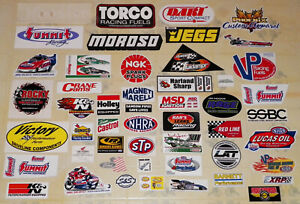 BIG COLLECTION OF 50 DIFFERENT VINTAGE RACING STICKERS--LUCAS/J.FORCE/STP+MORE!!