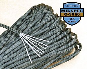 Type III 550lb 100ft Paracord Made in USA MIl-C-5040) 100% Nylon - Foliage Green