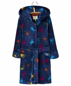Joules Hooded Dressing Gown Bath Robe 3 4 5 6 years Navy Spider