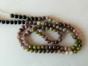 Tourmaline, Beautiful 4mm Approx, Smooth Round Beads, 37.5cm Strand