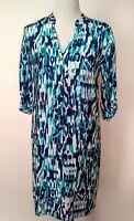 Tommy Bahama Womens Blue White Roll Tab Sleeve Shirt Dress Size XS/TP