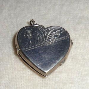 Vintage Heart & Flower Sterling Silver Antique Locket