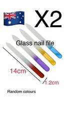 2x Crystal Glass Nail 14cm 2 Way Files Polishing Tool Manicuring Manicure Care