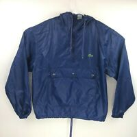 Izod Lacoste Mens Windbreaker Rain Pullover Blue Hooded Half Zip Size Medium