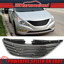 Fits 11-14 Hyundai Sonata Front Black Hood Grille Grill Horizontal Style ABS