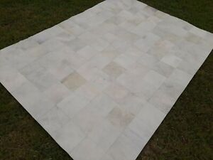 COWHIDE PATCHWORK CARPET AREA RUG Cow hide WHITE EXCLUSIVE!