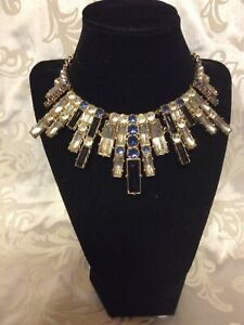 """Avon Mark. STATEMENT NECKLACE  Black, BLUE and Clear Faux Stones 18""""-21"""""""