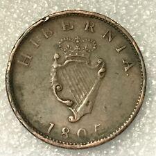 1805 IRELAND (HIBERNIA) 1/2 PENNY Coin, GEORGE III, free combined shipping.