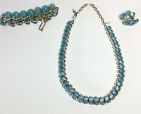 Vintage 1960's LONGCRAFT Blue Stone & Silver Necklace Bracelet Earrings 4 Pieces
