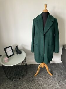 M&S Collection Bottle Green Oversized Over Coat Size 12
