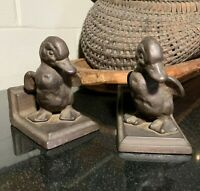 Pair Antique Cast Iron Figurine Baby Ducks or Ducklings Book Ends - Excellent