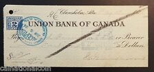 Union Bank of Canada Claresholm, Alberta Bank Check 1924