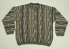 TUNDRA Canada 3D Sweater Large Cosby CraZy Beige Mercerized Cotton VTG Bachrach