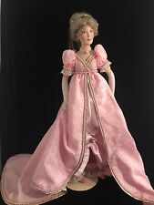 1988 Franklin Mint Heirloom Porcelain Doll In Pink And Pearl Gown