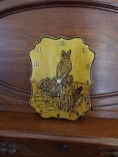 """12"""" x 9"""" Wood Burned Owl Clock/Folk Art/Rustic"""