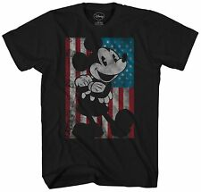 Disney Mickey Mouse America Flag Retro Distressed Adult Mens Graphic T-shirt Tee