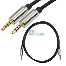 "Pro 3ft 3.5mm 1/8"" 4 Pole Male to Male Record Car aux Audio Headphone Cable 1M"