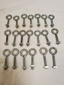 """20 Eye Bolts 1/4"""" X 2 1/2"""" with Square Nuts"""