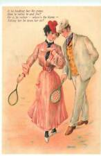 Edwardian times two for tennis advertising poster Mayfair postcard
