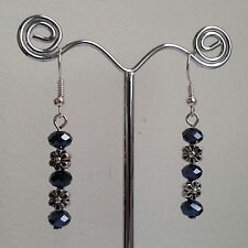 New Handmade Black Faceted Glass & Silver Flower Bead Silver Plated Earrings
