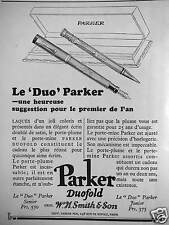 PUBLICITÉ LE DUO PARKER DUOFOLD SENIOR ET JUNIOR SUGGESTION POUR PREMIER DE L'AN