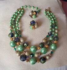 DEAUVILLE Vintage Green/Gold/Blue Necklace & Earring Set