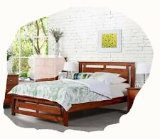Todd QUEEN Size Walnut Solid Timber Bed - BRAND NEW