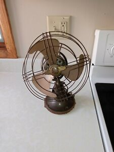 Antique Vintage GE Fan With Three Brass Blades And Brass Cage Fan- RARE