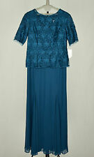 Alex Evenings Teal Green V-Neck Floral Lace Mesh Embroidered  Sheath Dress 14