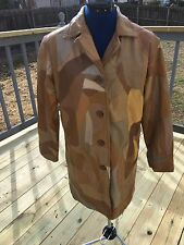 Leather Patchwork Jacket Coat D'Margeauoc Cream Brown Tan Medium New York La
