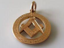 Art Nouveau 1911 9ct Yellow Gold Masonic (Square & Compass) Pendant/Charm