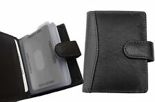 Primehide Black Leather Credit Card Holder Popper Wallet  Holds 24 Cards - 62