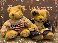 Russ Yankee Doodle & Amelia Collectible Bears Patriotic Red White Blue Flag SET