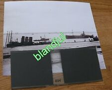 plaque verre+ Photo zeebrugge Belgique 1919 entrée du canal navire de guerre wwI
